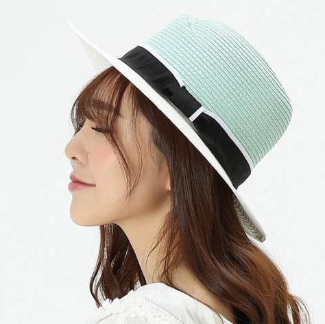 a8393889920 White and black Panama hat for women summer straw wide brim sun hat ...