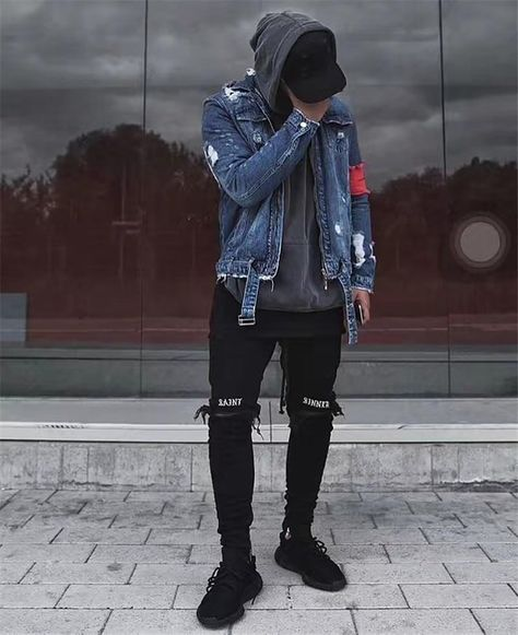 Men's Jeans Embroidery Front Zipper Destroyed High Street Ripped Denim