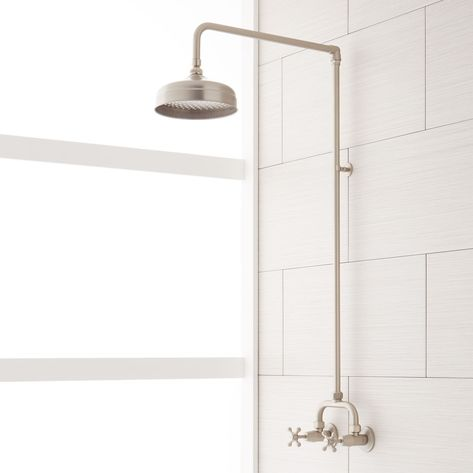 Baudette+Exposed+Pipe+Wall-Mount+Shower+With+Rainfall+Shower+Head