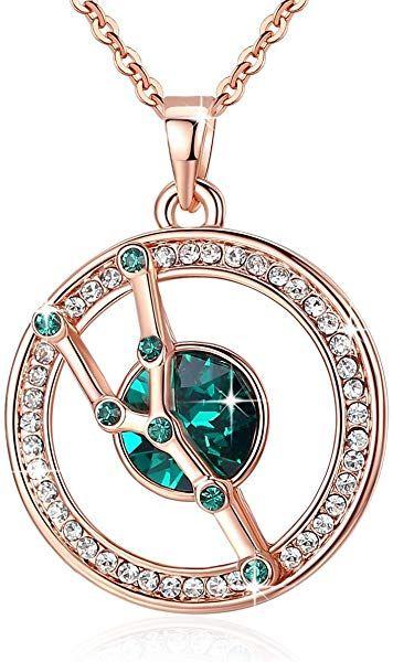 14k Rose Gold GF Necklace Earrings Set made w Swarovski Crystal Multicolor Stone