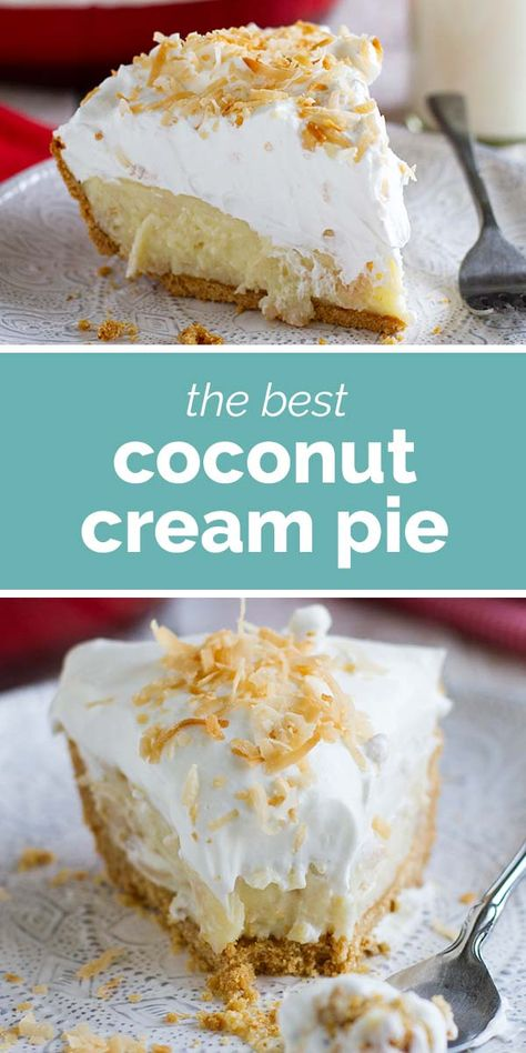 This Coconut Cream Pie starts with a cookie crust, is filled with the perfect coconut cream, and topped with fresh whipped cream and toasted coconut. It's any coconut lover's dream come true! #recipe #pie #dessert #coconut #coconutcreampie