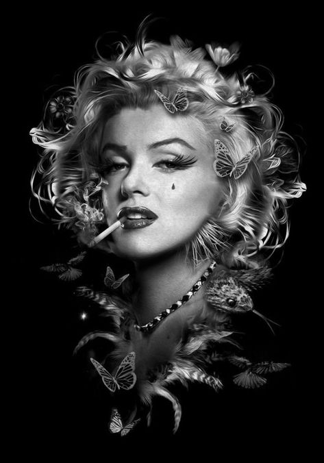 "ladystardustsoul: """"Fantasmagory"" by Nicolas Obery !"" Nicolas Obery, French digital artist who creates illustrations with characters that seem to come from a universe in which fantasy and sarcasm go. Marilyn Monroe Tattoo, Pop Art Marilyn Monroe, Marilyn Monroe Wallpaper, Marilyn Monroe Portrait, Marilyn Monroe Quotes, Foto Glamour, Arte Lowrider, Chicano Art, Classic Hollywood"