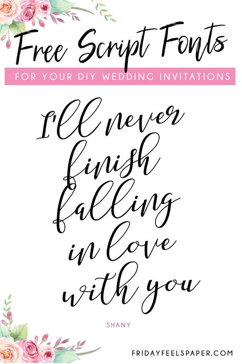 20 Free Script Fonts For Your DIY Wedding Invitations - Friday Feels Paper invites fonts 20 Free Script Fonts For Your DIY Wedding Invitations - Friday Feels Paper Diy Wedding Programs, Beach Wedding Invitations, Printable Wedding Invitations, Wedding Invitation Templates, Invites, Wedding Ideas, Invitations Online, Wedding Venues, Wedding Signs