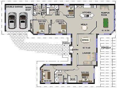 Image Result For U Shaped House Plans 4 Bedroom House Plans Floor Plans Single Level House Plans