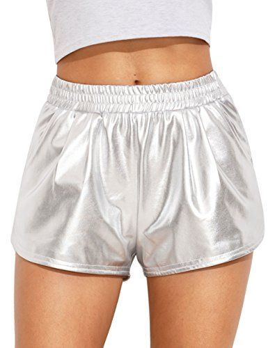 SweatyRocks Women's Yoga Hot Shorts Shiny Metallic Pants