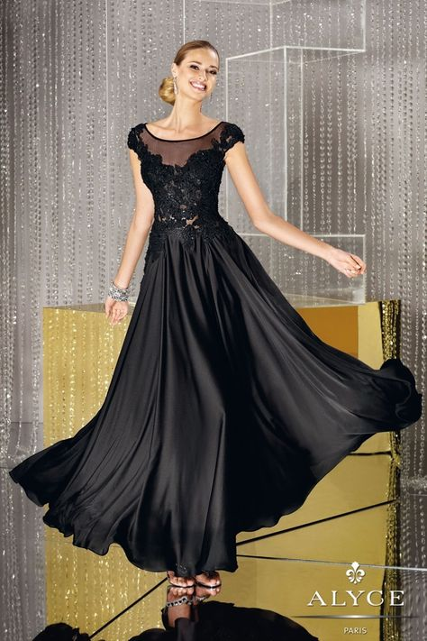 Alyce Black Label 29651 Cap sleeve satin chiffon long dress with sheer neck and beaded embroidered lace bodice.