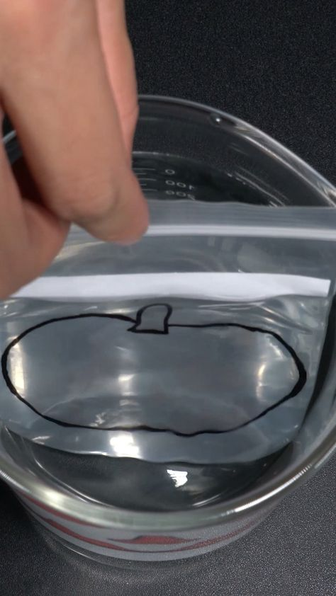 Halloween is around the corner and I want do some special science experiment to celebrate Halloween. This Zip Lock Bag Water Refraction is good to try. I draw a pumpkin and a ghost, the pumpkin will disappear in water, but the ghost. #scienceexperiment #scienceproject #refractionexperiment #waterexperiment