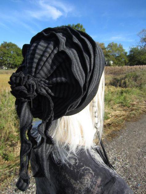ec71d42143aba Cute Hats for Women Slouchy Beanies Slouch Tams Merino Wool Black Grey  Striped Women s Rag Tie Back