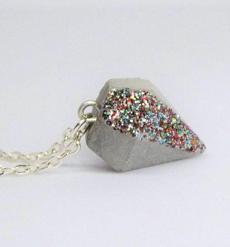 Necklaces medium – Sparkling Diamond – XXS Concrete – Color Selection – a Desi …