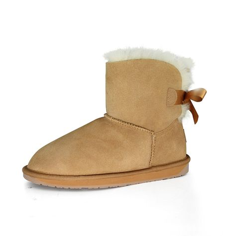 Spaceway Women's Sheepskin Mini Snow Boot With Bow * Read more at the image link.