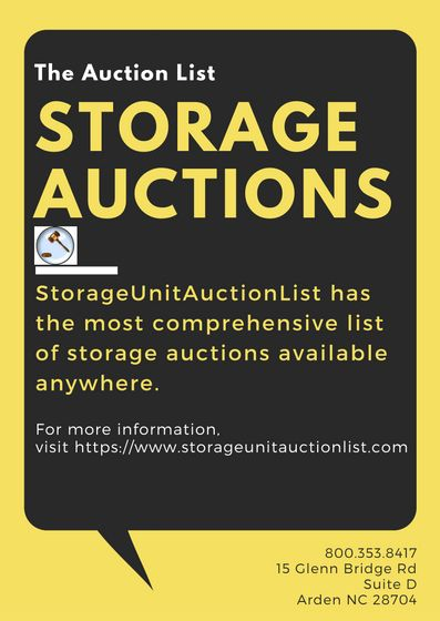 Storageunitauctionlist Has The Most Comprehensive List Of Storage Auctions Available Anywhere We Offe With Images Storage Auctions Storage Unit Auctions Storage
