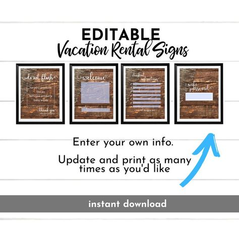 AirBnB Printable Set, Do Not Flush, Wifi, Welcome Printable Sign, Bathroom Sign, Guest Room, Real Estate, Guest Wifi, Vacation Home