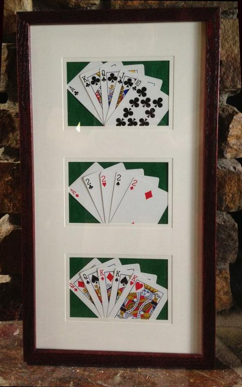 Items similar to 3 great hands - framed poker playing cards - nice man cave or game room art on etsy Garage Game Rooms, Game Room Basement, Game Room Bar, Game Room Decor, Bar Games, Billiard Room, Man Room, Entertainment Room, Playing Cards