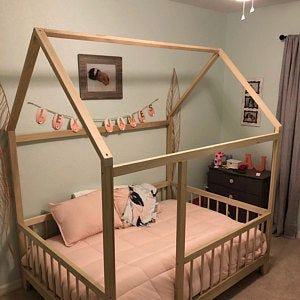 Twin House Frame Bed With Four Removable Railings Made In Usa