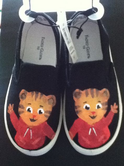 Daniel tiger hand painted shoes (toddler size 10) via Etsy