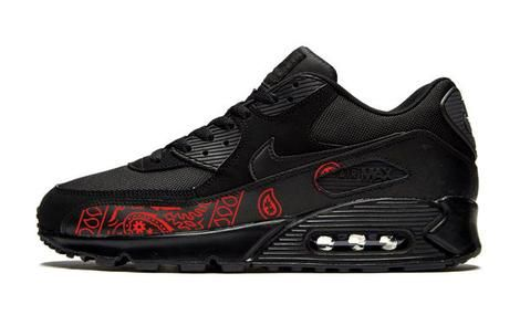 cd6c7ba2 Bandana Fever Red Bandana Print Custom Black Nike Air Max Shoes – Bandana  Fever Designs