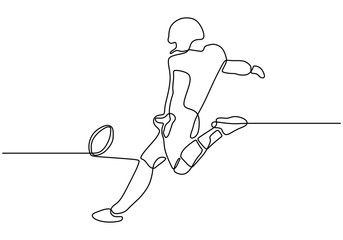 Continuous One Line Drawing Of A Man Kick Or Shot A Ball To Make A Goal While Soccer Sp Line Drawing American Football American Football Clothing And Equipment