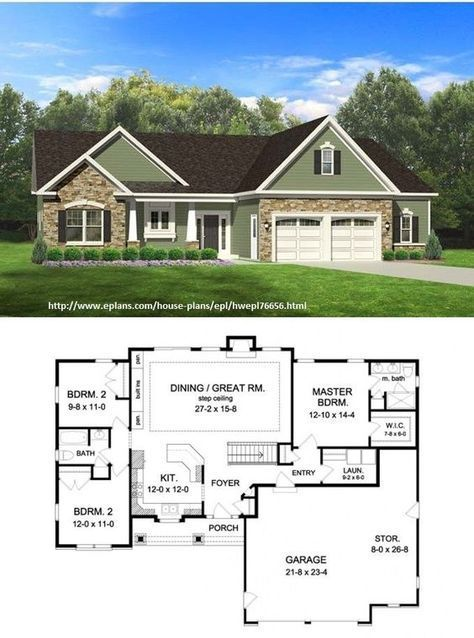 Ranch Style House Plan 3 Beds 2 Baths 1598 Sq Ft Plan 1010 68 Ranch Style House Plans New House Plans Ranch House Plans