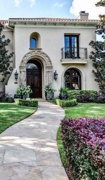 Top 70 Best Walkway Ideas Unique Outdoor Pathway Designs Mediterranean Homes Spanish Style Homes House Exterior