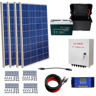Eco 400w Solar Kit 4 100w Solar Panel 60a Solar Controller 100ah Battery Rv Solar Energy Panels Monocrystalline Solar Panels Solar Panels