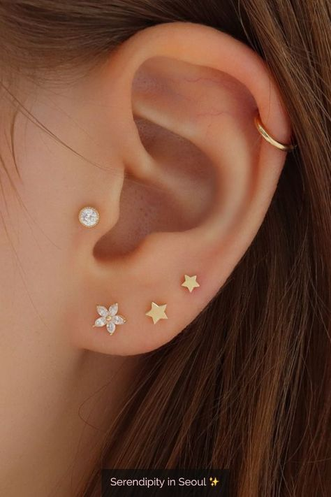 Tiny Star Stud Earring in 14K Gold -  - #14K #Earring #gold #Star #Stud #Tiny