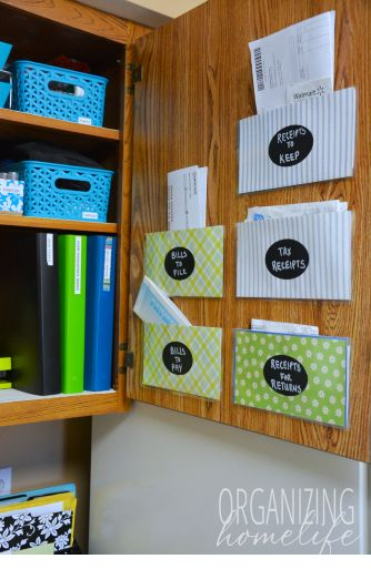 How to Make Cabinet Door Pockets to Organize Bills and Receipts