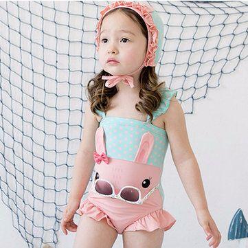 "Vaenait Baby Kids Girls Short Leggings Rashguard Swimsuit Set /""Mingo Cat/"" 2T-7T"