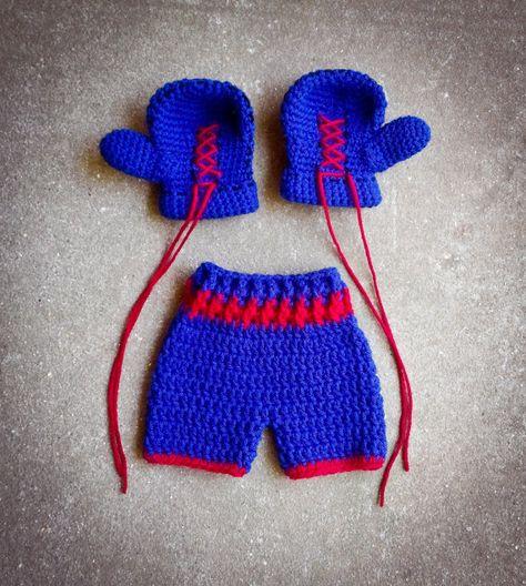 Boxing gloves shorts set trunks Crochet by BitofWhimsyCrochet,