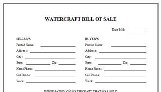 A Watercraft Bill Of Sale Is A Legal Document That The Seller Uses To Transfer The Letter Template Word Funeral Program Template Free Funeral Program Template
