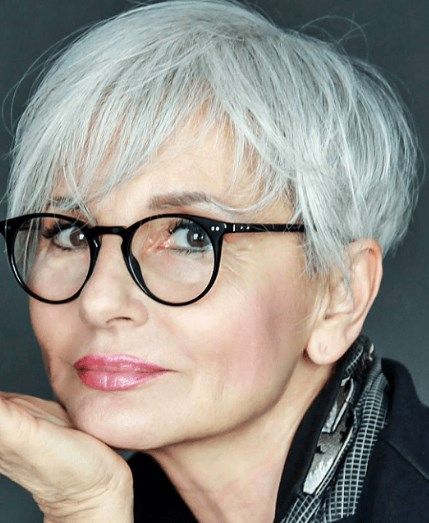 Short Grey Hairstyles For Glasses Wearers Grey Hair And Glasses Older Women Hairstyles Haircut For Older Women