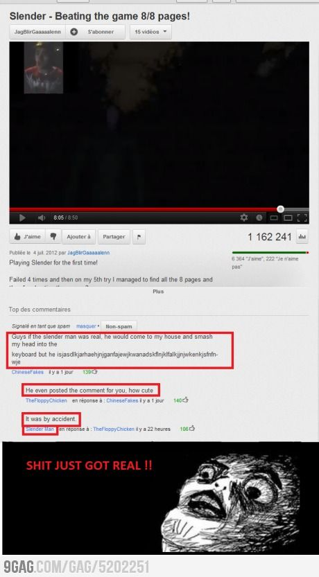 Because slenderman has a YouTube account...