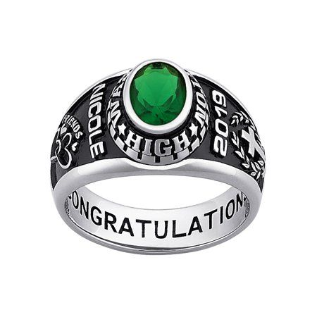 Freestyle Class Rings Personalized Women S Platinum Plated Celebrium Oval Stone Class Ring Walmart Com Class Ring Oval Stone Graduation Rings