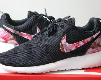 wholesale dealer 3ac4f ff31f Nike Roshe Run Black White Bushel of Roses Floral Print Custom Men   Womens