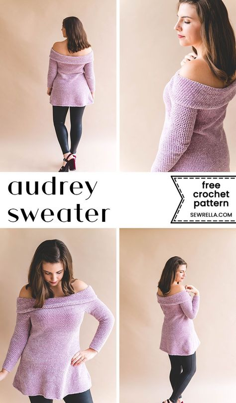 Crochet Audrey Tunic Audrey has a vintage romantic feel that I just can't get enough of! Click this pin for the easy, free crochet pattern, and to find her knit sister! Mode Crochet, Crochet Tunic, Crochet Jacket, Crochet Sweaters, Crochet Tops, Crochet Crafts, Diy Crochet Clothes, Diy Crafts, Crochet Designs