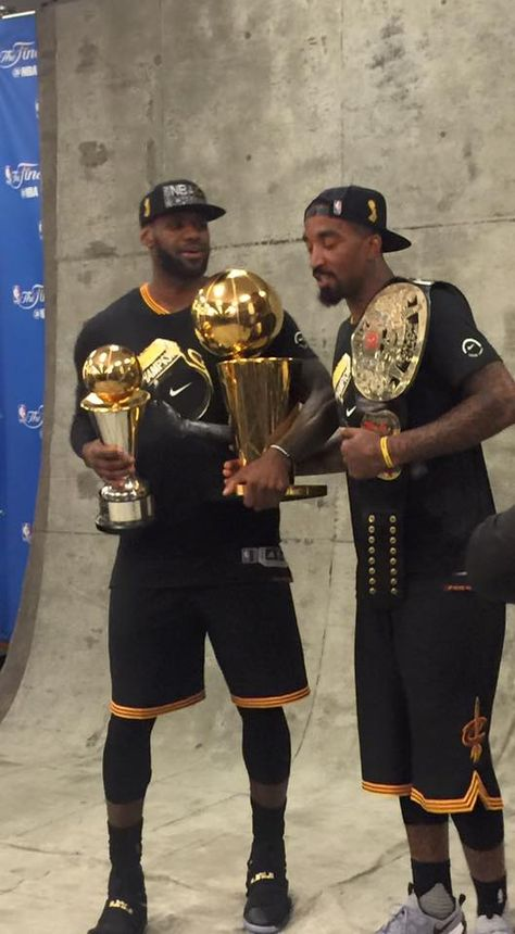 J.R. Smith with the Championship Belt, LeBron James with the