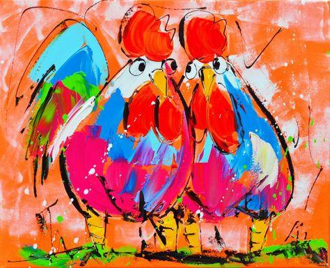 Chickens Orange 60 x 60 - Happy Painting