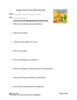 Worksheet To Go Along With The Magic School Bus Series For Season 1 Episode 7 Magic School Bus All Dried Up This Epis Magic School Bus Magic School School Bus