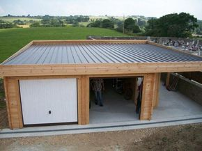 Garage Toit Plat Avec Buche Garagenbau Uberdachung Garten Moderne Garage