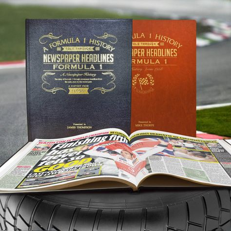 Personalised A3 Formula 1 Newspaper Book - A3 Formula One Newspaper Book - Brown Leatherette (Colour Pages)