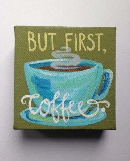 Painting Ideas On Canvas Coffee Kitchens 25 Diy Mini Art Easy