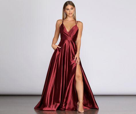 Windsor Priscilla Satin Evening Gown in Burgundy | Size: XS
