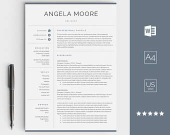 Resume Template With Cover Letter Instant Download Best Cv Etsy Resume Design Creative Resume Templates Creative Resume