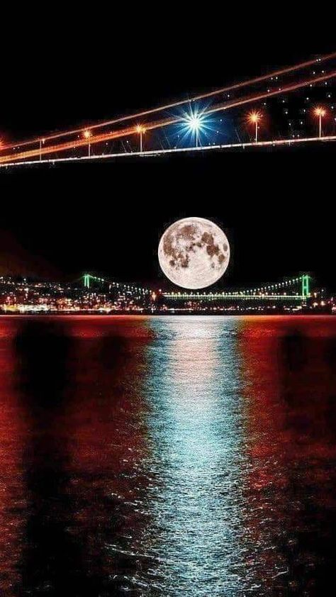 ✿ ❤  Istanbul with the full moon, Turkey.