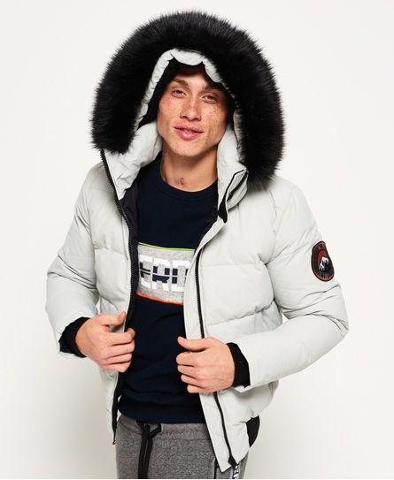 Superdry Canadian Down Ski Parka Jacket Light Grey