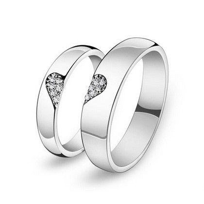 Personalized Half Heart Shaped Promise Rings for Him and Her