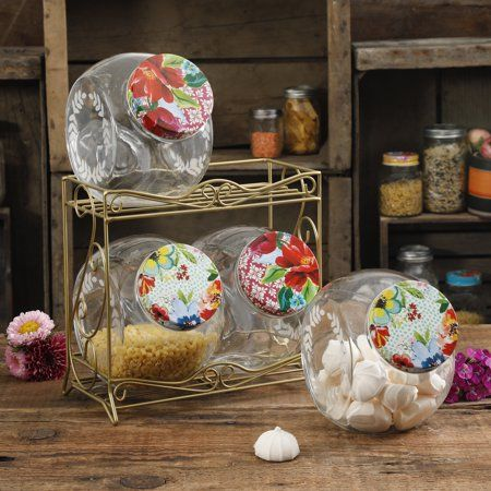 Wondrous The Pioneer Woman Floral Medley Storage Metal Rack With Home Interior And Landscaping Ologienasavecom