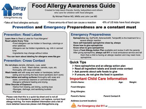 Food Allergy Awareness Guide- reference since all my kids have friends with allergies