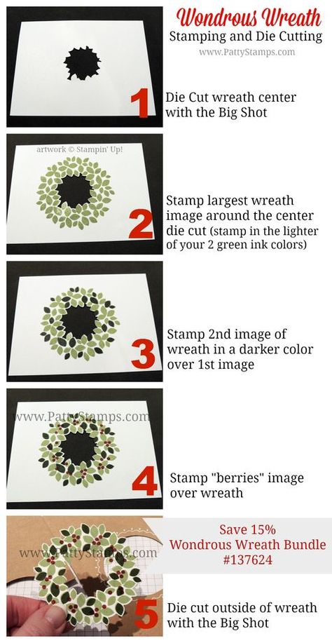 How to stamp and die cut the Wondrous Wreath stamp from Stampin' Up! with the Big Shot framelits. by Patty Bennett www.PattyStamps.com #stampinup #wondrouswreath