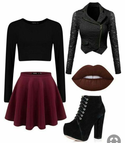 A fashion look from March 2016 featuring cropped white shirt, lace blazer jacket and wide skirt. Browse and shop related looks. Cute Emo Outfits, Bad Girl Outfits, Really Cute Outfits, Komplette Outfits, Teenage Girl Outfits, Fandom Outfits, Girls Fashion Clothes, Teen Fashion Outfits, Stylish Outfits