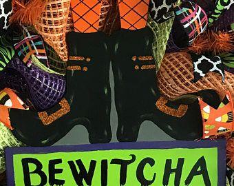 Bewitcha In A Minute Sign Door Hangers Halloween Door Hangers Cute Halloween
